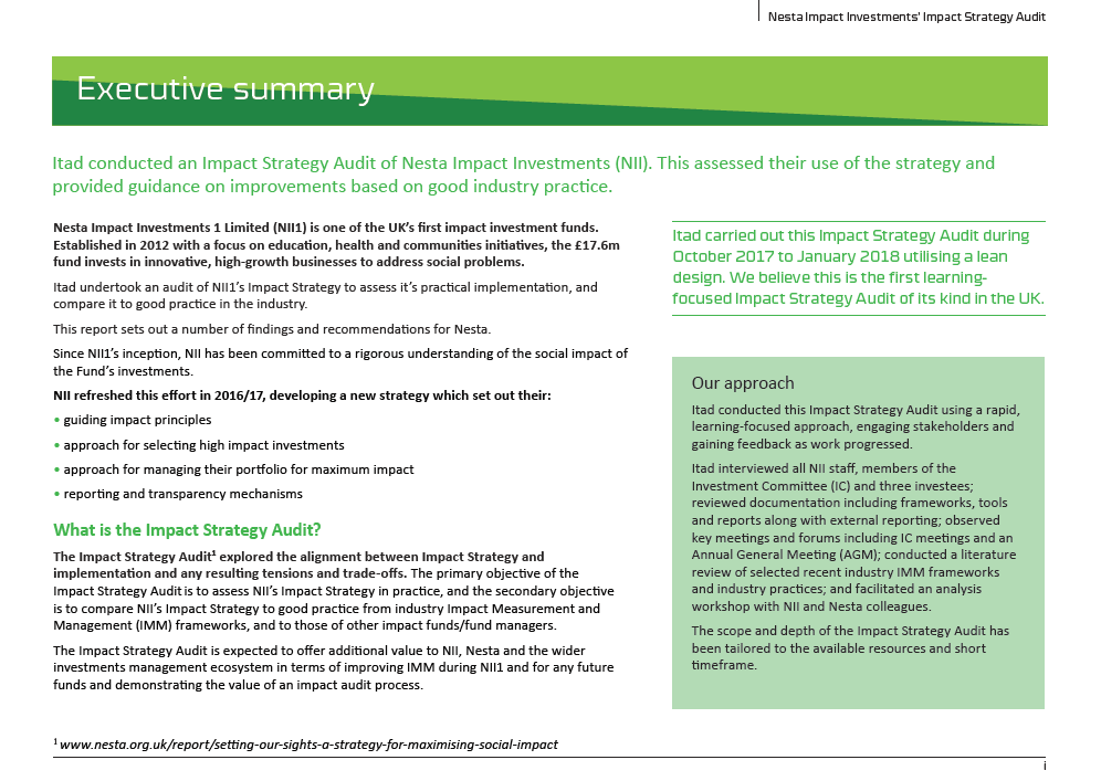 Itad's Impact Strategy Audit of Nesta Impact Investments