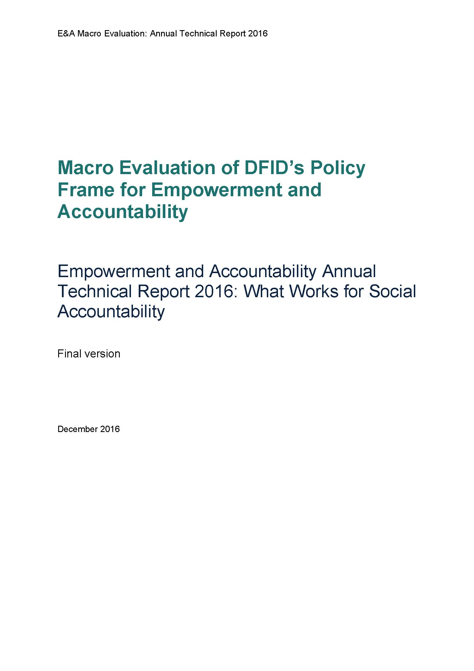 Empowerment and Accountability Annual Technical Report 2016